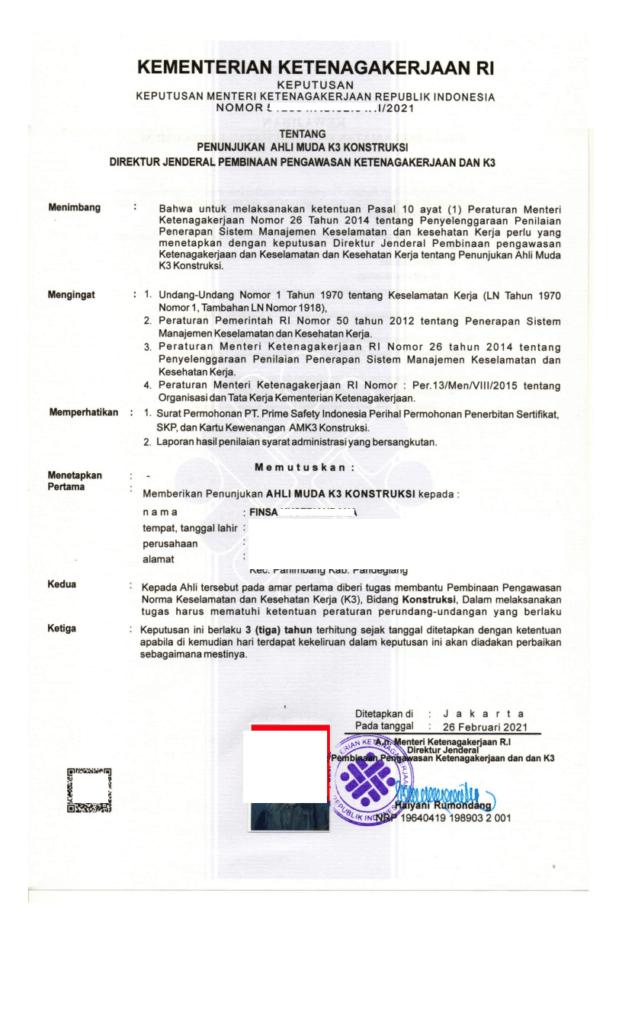 SKP Sertifikat Ahli K3 Konstruksi